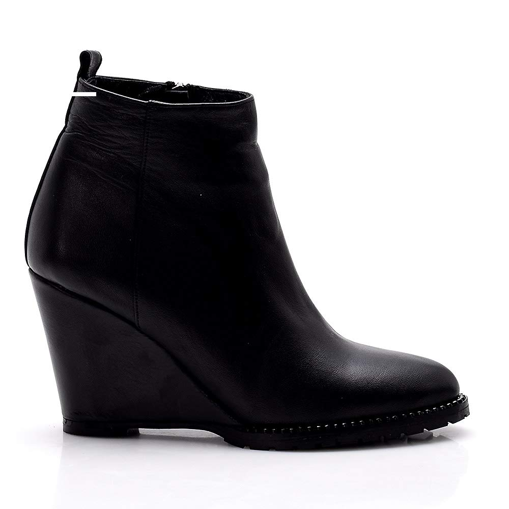 100% Ital?an Calf Leather Women's Black Wedge Heel Bootie 515sbLpVsEL._SL1000_