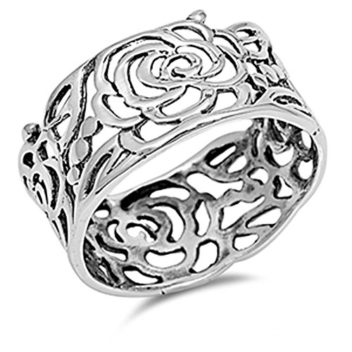 Women's Rose Flower Wrap Cutout Ring New .925 Sterling Silver Band Size 9 Cut Out Band Ring