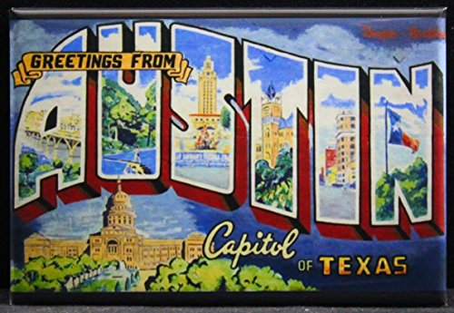 Greetings from Austin Texas Refrigerator Magnet. (Austin Postcard)
