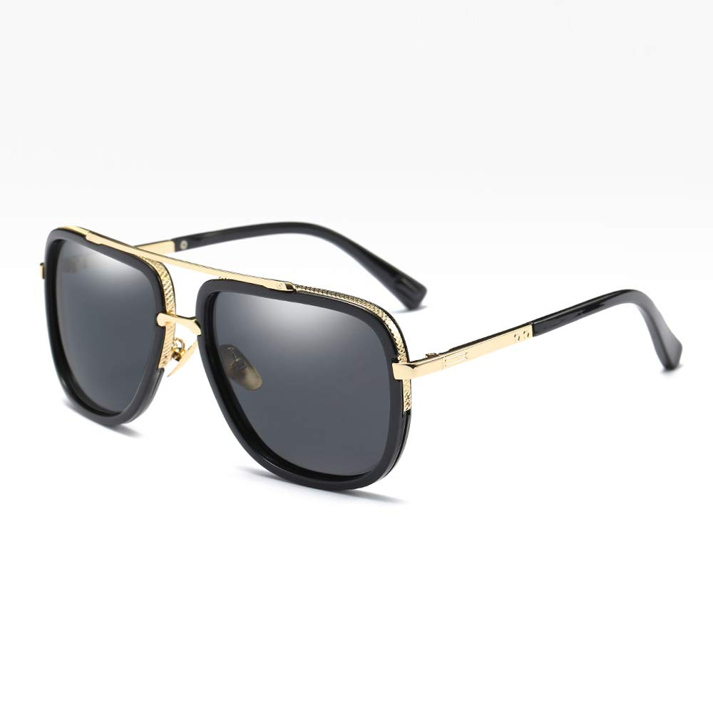 Polarized Sunglasses for Men Women Driving Vintage Oversized Square Star Style Sun glasses for Fishing Cosplay(gold with black) by kachawoo