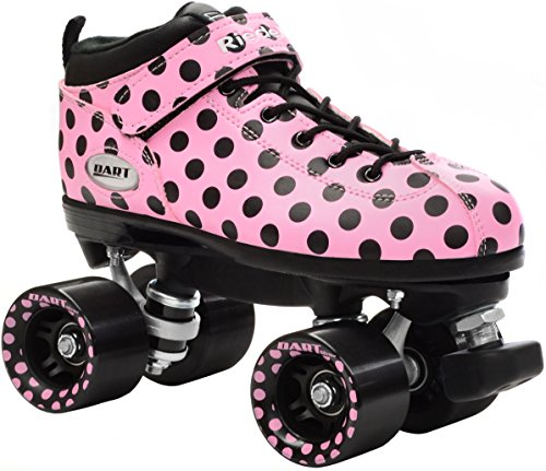 New! Riedell Pink Polka Dot Dart Quad Roller Derby Speed