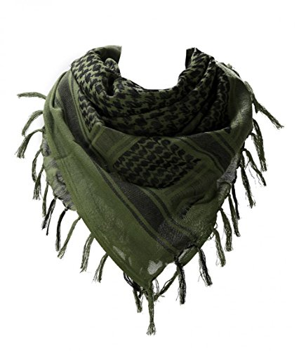 (100 percent Cotton Military Shemagh Arab Tactical Desert Keffiyeh Thickened Scarf Wrap for Women and Men, Army Green, One Size)