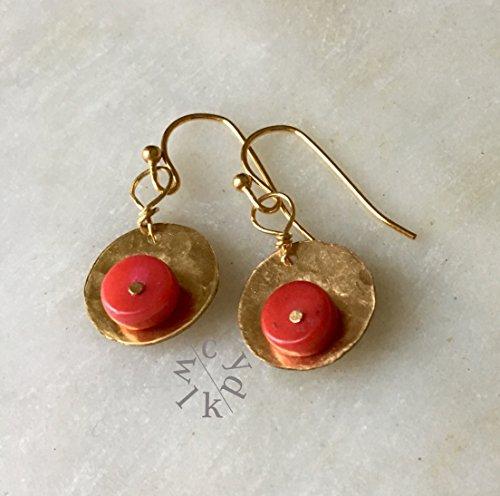 Coral Disc Earrings - 5