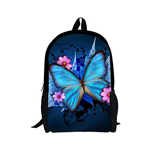 HUGSIDEA Butterfly Kids Book Bag Sweety Style School Backpack for Teenager Girls
