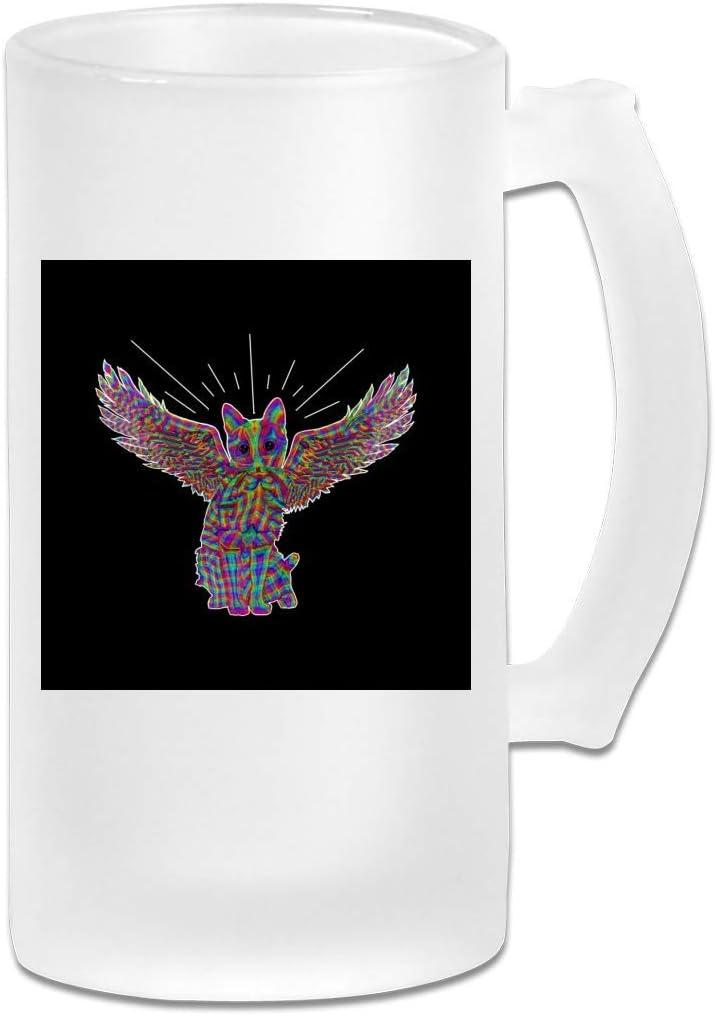 Taza de jarra de cerveza de vidrio esmerilado impresa de 16 oz - Rainbow Cat Angel Wings Sketch - Taza gráfica