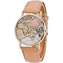 Watch, XUANOU Women Fashion World Map Pattern Leather Strap Analog Quartz Wrist Watch (Beige)
