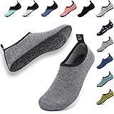 VIFUUR Unisex Quick Drying Aqua Water Shoes Pool Beach Yoga Exercise Shoes for Men Women Grey/Colorful Wire 42/43