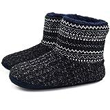 Knit Rock Wool Warm Men Indoor Pull on Cozy Memory Foam Slipper Boots Soft Rubber Sole Black/White