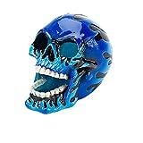 """Penn-Plax Aquarium Decorative Resin Ornament Flaming Fire Skull Blue 4.25""""W x 3""""D x 3.5""""H"""