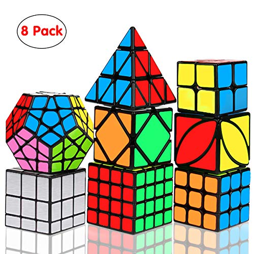 Speed Cube Set, Libay Magic Cube Bundle 2x2 3x3 4x4 Pyramid Megaminx Skew Mirror Ivy Sticker Cube Puzzle Collection - Toy Puzzles Cube for Kids and Adults Set of ()