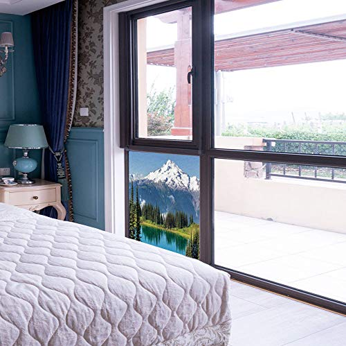 Decorative Window Film,Landscape,for Bedroom Living Room Kitchen,Lake and Snowy Glacier Peak in Washington ()