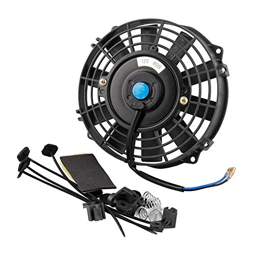 VOVI 12V 7''Car Cooling Fan Automobile Vehicle Clip Fan Powerful Quiet Ventilation Electric Car Fans Cooler Radiator Cooling Thermo Electric Fan