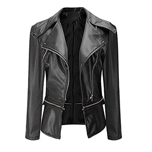 CHICFOR Women's Faux Leather Biker Motorbike Jacket Zipper PU Blazer Slim Fit Short Coat (XXXL, Black)
