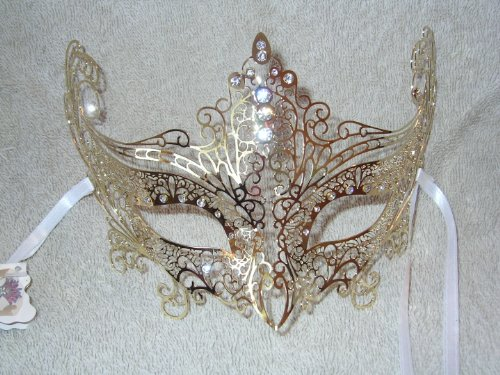 Venice Carnival Costumes (Gold Laser Cut Metal Cat Venetian Masquerade Carnival Mask)