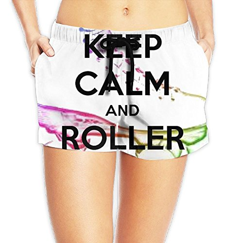 Women's Elastic Lounge Shorts Keep Calm And Roller Skate Beach Shorts