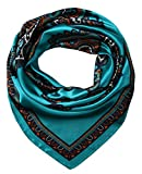 corciova Women's Satin Square Silk Feeling Hair Scarf 35 x 35 Totem Tiffany Blue