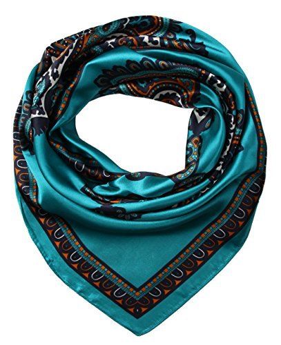 corciova Women's Satin Square Silk Feeling Hair Scarf 35 x 35 Totem Tiffany - Good Is A Brand Tiffany