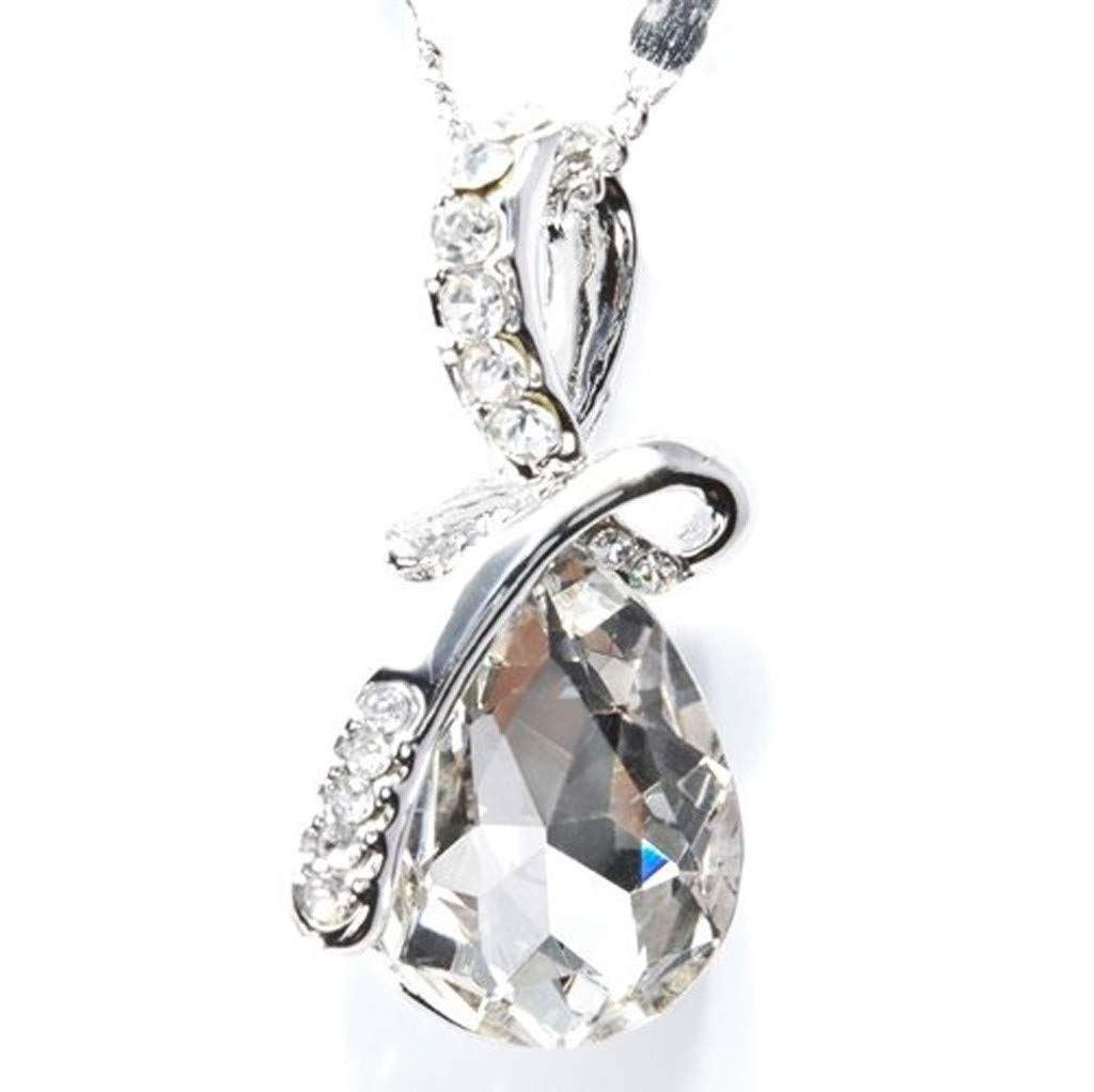 Women Retro Fashion Elegant Jewelry Charm Silver Plated Pendant Hollow Minimalist Necklace Gift for Lady Friends Girl (WH)