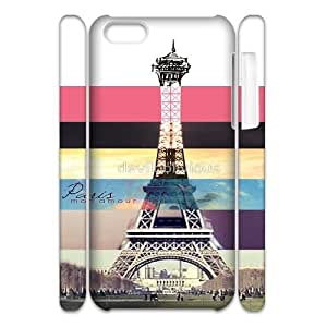 Qxhu Eiffel Tower Stripe Cell Phone Cover Case for Iphone 5C 3D case