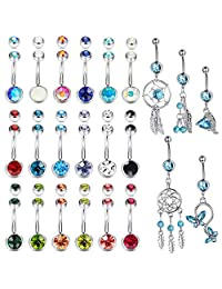 Adramata 23 Pcs 14G Belly Button Rings Women Dangle Navel Rings Curved Barbell CZ Body Piercing