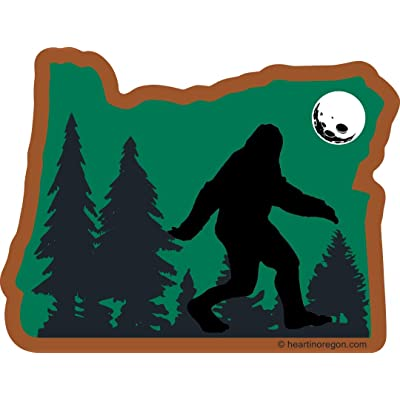 Oregon Bigfoot Sticker | OR State Shaped Label | Folklore Creature Legend | I believe hunting searching for Sasquatch Yeti | Use on Water Bottle Decal for Sign Toy Book Sock Present TShirt Earring: Automotive
