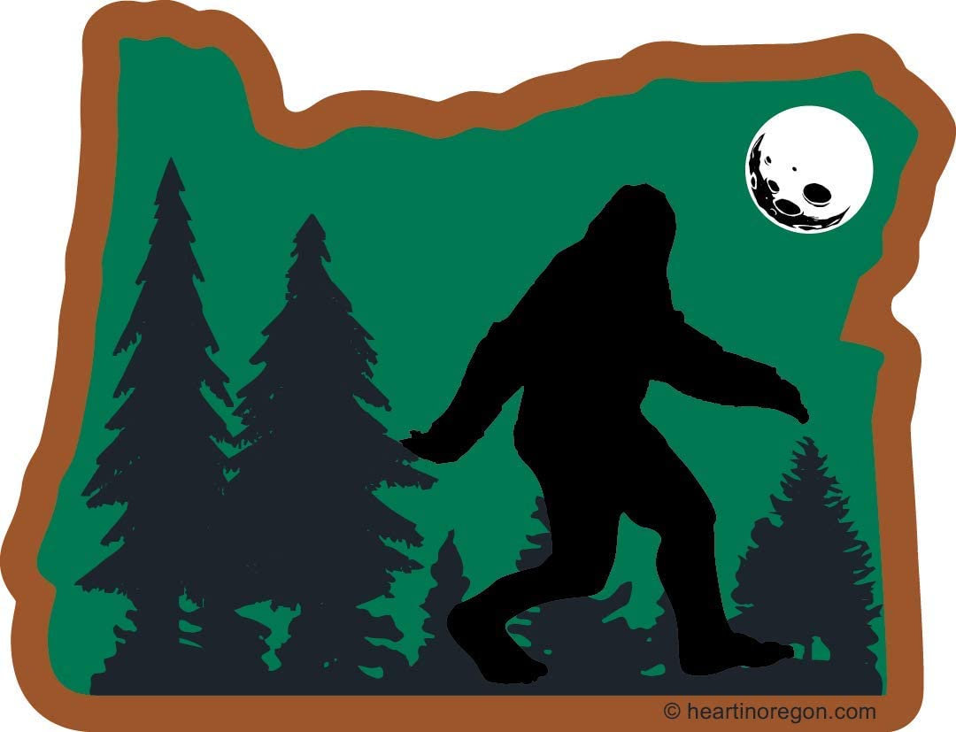 Oregon Bigfoot Sticker | OR State Shaped Label | Folklore Creature Legend | I believe hunting searching for Sasquatch Yeti | Use on Water Bottle Decal for Sign Toy Book Sock Present TShirt Earring