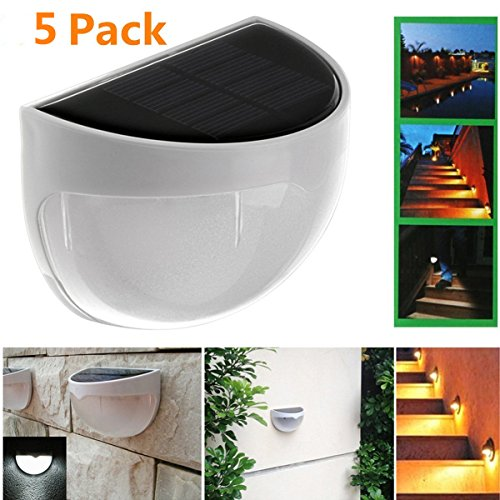 KINGSO Solar Powered Wall Sensor Light Accent Lighting Waterproof 6 LED Practical Acent Lighting For Fence Outdoor Garden Yard Driveway-5 Packs Warm White - Fence Accent Light