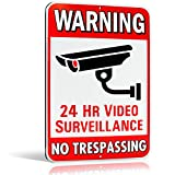 Warning 24 Hour Video Surveillance No Trespassing Metal Sign - Heavy Duty Aluminum - Security Camera Warning, 1/8' Thick Di-Bond Metal, 10' by 15' (Aluminum)