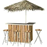 Best of Times Hawaiian Bamboo Deluxe Portable Bar Model# 4684- 4 Stools and Umbrella