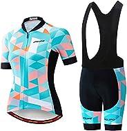 Women's Cycling Jersey, Short Sleeve and Summer Bib Padded Cycling Sh