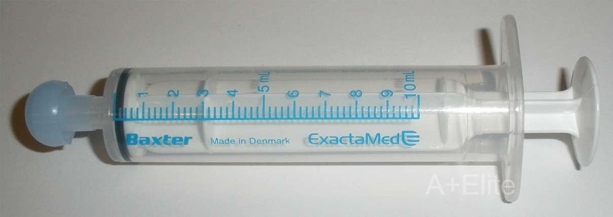 BAXA ExactaMed Oral Liquid Medication Syringe 10cc / 10mL 100/PK Clear Medicine Dose Dispenser With Cap Exacta-Med BAXTER Comar Latex Free by Baxa (Image #2)
