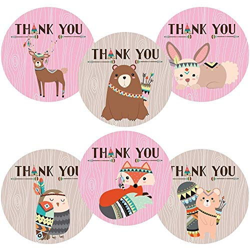 Girl Tribal Woodland Forest Animal Thank You Sticker Labels - Birthday Baby Shower Party - Set of 30