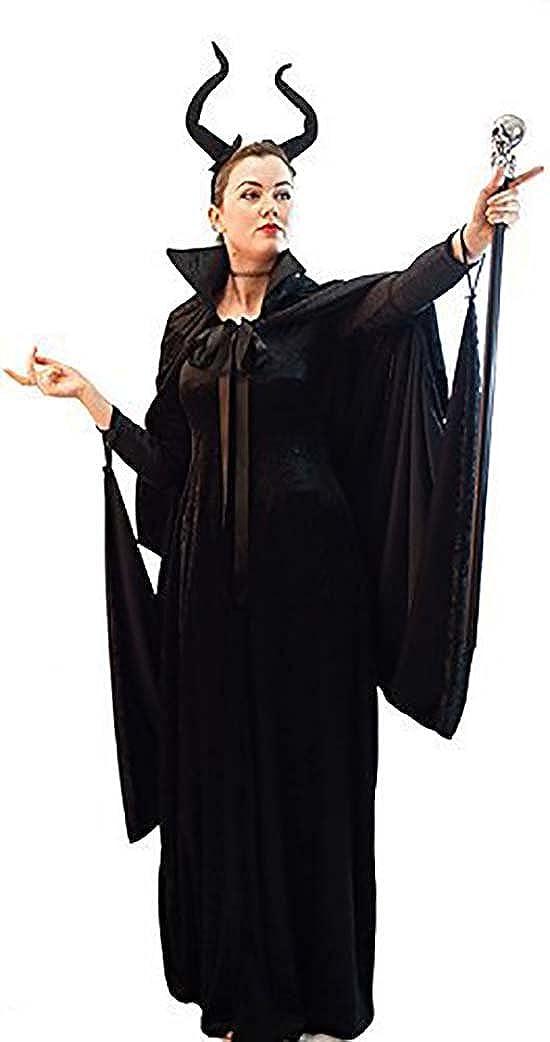 Halloween-Evil Fairy Queen MALEFICENT HORN HEADBAND /& CLOAK Child/'s Fancy Dress