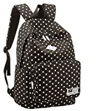 Girl's Women's Vintage Cute Polka Dot Backpack Schoolbag Book Campus Bag (Black)