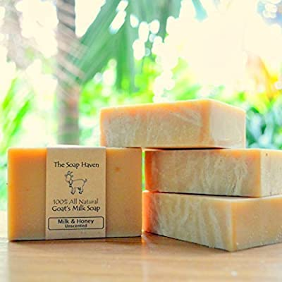 Handmade Goat Milk & Honey Soap - All Natural, Fragrance Free, Fresh Goat Milk Soap (4 Bar Pack). Wonderful for Eczema, Psoriasis & sensitive skin. SLS & Paraben Free. Handmade in USA.