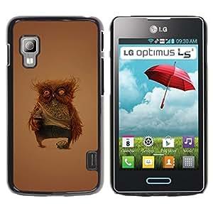 Be Good Phone Accessory Dura Cáscara cubierta Protectora Caso Carcasa Funda de Protección para LG Optimus L5 II Dual E455 E460//Funny Weird Owl