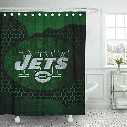 Ladble Decor Shower Curtain Set with Hooks New York City Jets Football Grunge Metal Texture East Division 72 X 78 Inches Polyester Waterproof ()