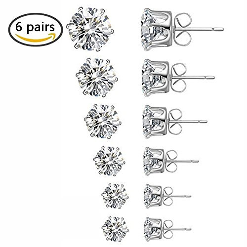 Sohapy Stainless Steel Round Clear Cubic Zirconia Diamond Rhinestone Stud Earrings, Roseate Jewelry, 6 Pairs (Color Silver) (Crystal Earrings Clear Diamond)