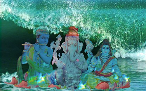 8.5 x 11 mixemedia print. Unmatted and unframed. Hindu gods in an ocean setting. Complimentary matching notecard by Gemini Art