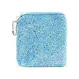Sikye Earphone Case,Mini Zipper Pocket Pouch Charging Protective Earbud Case, Glitter Hard Case, Anti-shock (Blue)