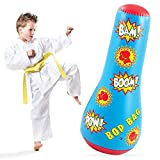 Hoovy Inflatable Punching Bag for Kids: Free Standing Boxing Toy for Children, Air Bop Bag for Boys & Girls, Exercise & Stress Relief (16.5x17x44)