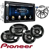 Soundstream VR-651B Double DIN Multimedia Source Unit with 6.5″ LCD Touch Screen/Bluetooth W/Pioneer TS-165P + TS-695P Two Pairs 200W 6.5 + 230W 6x9 Car Audio 4 Ohm