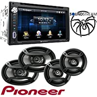Soundstream VR-651B Double DIN Multimedia Source Unit with 6.5″ LCD Touch Screen/Bluetooth W/Pioneer TS-165P + TS-695P Two Pairs 200W 6.5 + 230W 6x9 Car Audio 4 Ohm Component Speakers