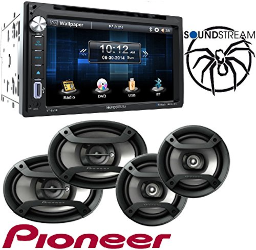 "Soundstream VR-651B Double DIN Multimedia Source Unit with 6.5″ LCD Touch Screen/Bluetooth W/Pioneer TS-165P + TS-695P Two Pairs 200W 6.5"" + 230W 6x9"" Car Audio 4 Ohm"
