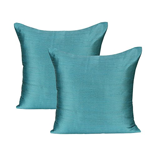 Euro Sham Light Teal (Set of 2 Covers, Faux Raw Silk, Light Teal, 28x28 inches)
