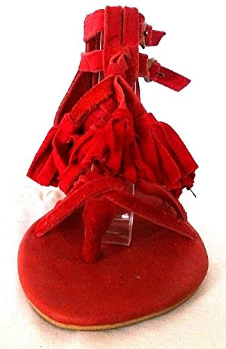 de Vestir Sandalias Piel 11sunshop Otra Mujer Rojo de 5aEqpwT6O
