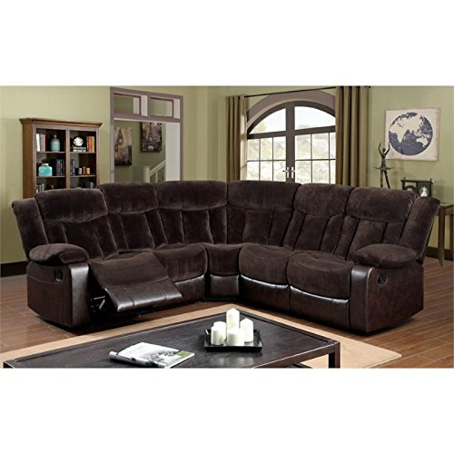 Furniture of America Voitise Fabric Reclining Sectional in Brown
