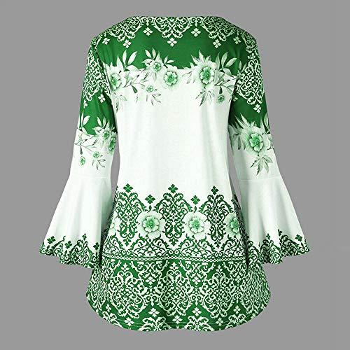 Con Di Campana SOMESUN Grande Maniche Stampate Donna Taglia Campana Con Più a Moda T Verde a Shirt Maniche wORqIO