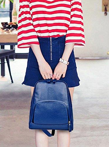 QPALZM Mode Koreanisch Trend Klassik Handtaschen Hochschule Wind Student Schnippisch PU-Leder Reise Schultern Rucksack,Blue