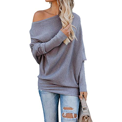 Exlura Women's Off Shoulder Batwing Sleeve Ribbed Shirt Loose Pullover Tops Grey ()
